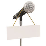 Microphone Stand Blank Copyspace Message Recording Studio Mike P. Microphone on stand with sign and blank copyspace for your own words or message to illustrate stock illustration