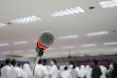 Microphone on stand Close up in conference room with copy space add text. Microphone on stand Close up in conference room :Select focus with shallow depth of Stock Image