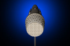 Microphone and Stand Dark Stock Image