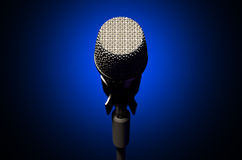 Microphone and Stand Dark Stock Photo