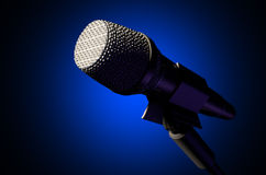 Microphone and Stand Dark Royalty Free Stock Photos