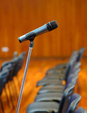 Microphone on the stand at the hall Stock Photos