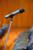 Microphone on the stand at the hall Royalty Free Stock Photography