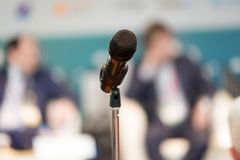 Microphone on the stand at the hall Stock Image
