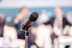 Microphone on the stand at the hall Royalty Free Stock Photos