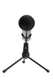 Microphone on stand isolated on white Stock Images