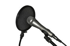 Microphone on stand with pop filter Stock Photos