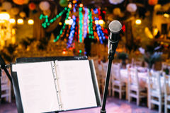 Microphone on the stand  the stage Royalty Free Stock Photography