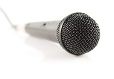 Microphone stand up 4. Microphone, base, black, music, sound, communications, computers, connections, electronics, textures Stock Image