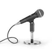 Microphone on the stand on a white background. Stock Photography