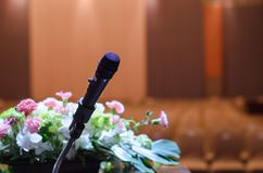 Microphone standing on a  table Royalty Free Stock Photography