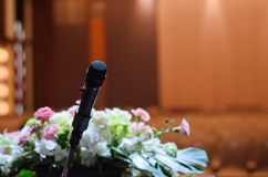 Microphone standing on a  table Stock Photos