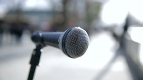 Microphone from street artist in London stock video