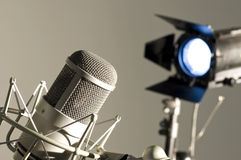 Microphone in studio. Royalty Free Stock Images
