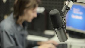 The microphone in the Studio stock video