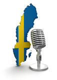 Microphone and Sweden (clipping path included) Royalty Free Stock Images