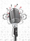 Microphone on swirly musical background Royalty Free Stock Image