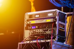 The Microphone System is on the stage stock image
