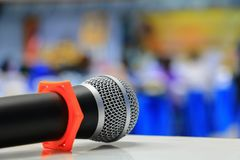 Microphone on the table in conference room. Select focus with shallow depth of field Stock Images