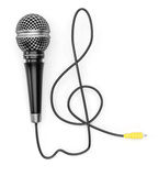 Microphone with treble clef shaped cable Stock Images