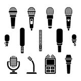 Microphone types black icons vector set. Microphone media sound and audio device microphone illustration Vector Illustration