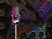 Microphone under colorful lights Stock Photography