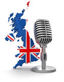 Microphone and United Kingdom (clipping path included) Stock Photo