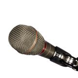 Microphone in Use for Communication Stock Photo