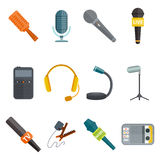 Microphone vector icon isolated interview music TV tool show voice radio broadcast audio live record studio sound media Royalty Free Stock Photo