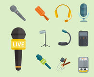 Microphone vector icon isolated interview music TV tool show voice radio broadcast audio live record studio sound media Royalty Free Stock Image