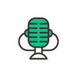 Microphone vector icon isolated interview music TV web broadcasting vocal tool Royalty Free Stock Photos