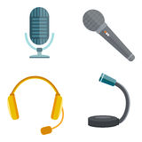 Microphone vector icon isolated interview music TV web vocal tool show voice radio broadcast audio live record studio Stock Photos