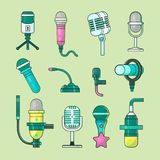 Microphone vector icons mike telecommunication transmitter for tv, radio, music voice record professional equipment. Media mic sound technology Royalty Free Stock Photo