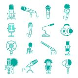 Microphone vector musical radio studio records icons audio dictaphone, microphones podcast webcast broadcast or music Stock Photography