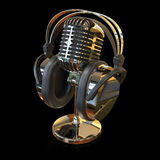 Microphone. Vintage microphone and headphones isolated on black background 3D rendering royalty free stock photography