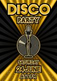 Microphone and vinyl record on black and golden background. Party poster in retro style. Vector illustration - eps 10 Royalty Free Stock Photography