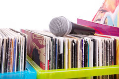 Microphone on vinyl records Stock Photography