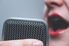 Microphone/voice recorder closeup Royalty Free Stock Image