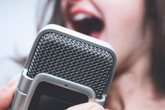 Microphone/voice recorder closeup Royalty Free Stock Photography