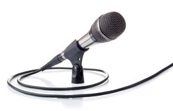 Microphone for voice recording. Microphone with cable for voice recording  on white background Royalty Free Stock Photo