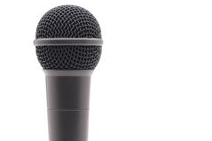 Microphone on white. Closeup of a microphone on white stock photo