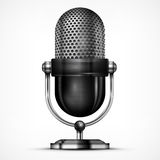 Microphone on white. Metallic microphone  on white background, vector illustration Royalty Free Stock Photo