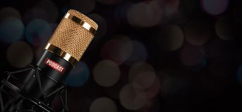 Free Microphone With Podcast Label Stock Photography - 161869982