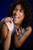 Microphone Woman Stock Images