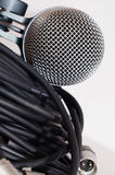 Microphone and XLR cables Royalty Free Stock Photos