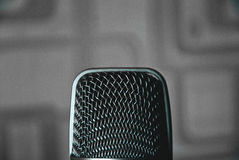 Microphone. Only you and a microphone.  I am listening to you Stock Photo