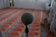 Microphone.Interior of the mosque. stock photos