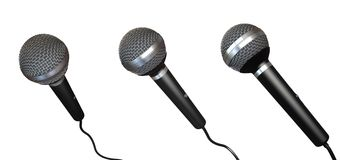 Microphones. Isolated on white with clipping paths Royalty Free Stock Image
