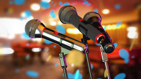Microphones. On abstract blurred background (shallow DoF Stock Photo