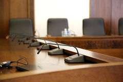 Microphones in conference room Stock Images